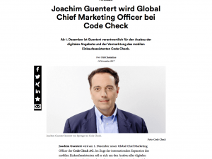 Joachim M. Guentert wird Global Chief Marketing Officer der CodeCheck AG